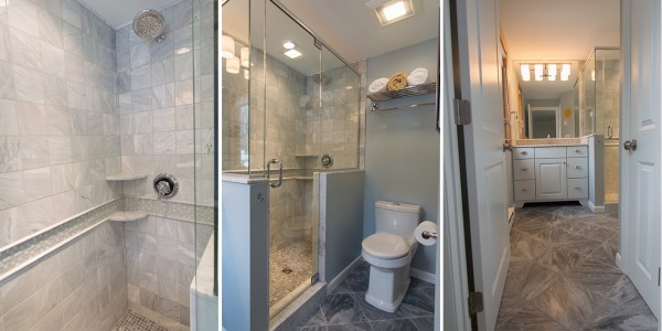 grey white tile bathroom remodel lighthouse contracting