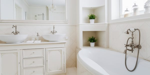 custom white tile bathroom remodel