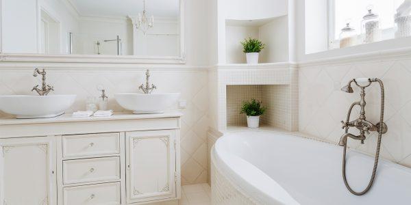 custom white tile bathroom remodel