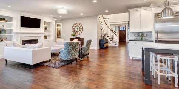 wood floor living room staircase