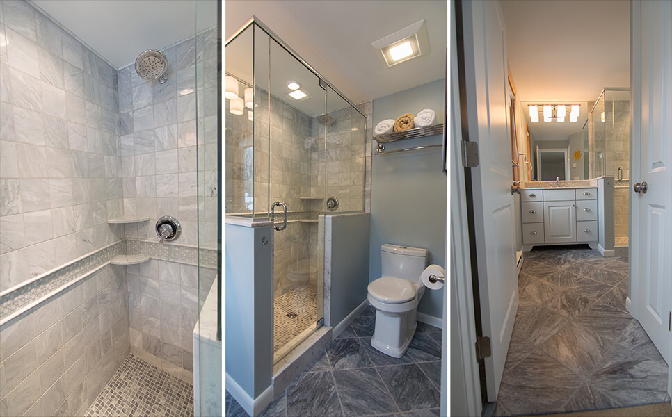 grey and white bathroom tile shower and floor gilford nh contractor