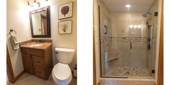 neutral custom tile master bath shower with bench