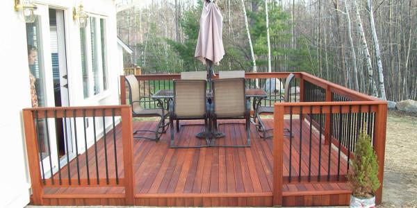 custom backyard mahogany deck and patio laconia nh