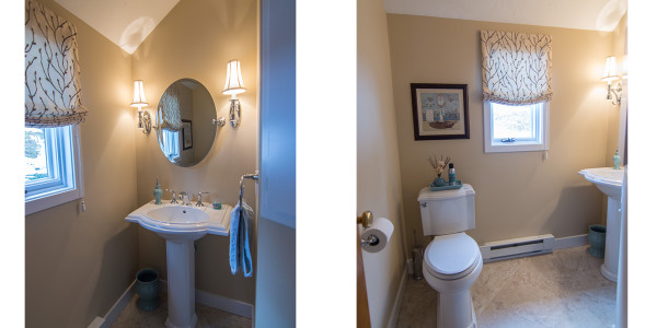 pedestal sink with chrome sconces diamond tiled floor half bath remodel