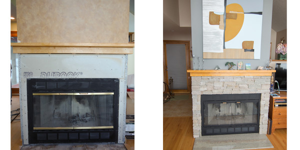 fireplace makeover stone veneer birds-eye maple mantle