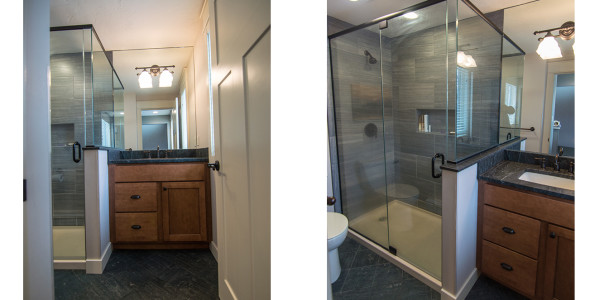grey tiled glass shower and master bath remodel by lighthouse contracting group