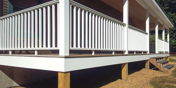 pvc railings on front farmers porch addition