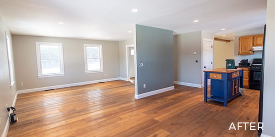 after sitting room remodel hardwood floors and open concept kitchen