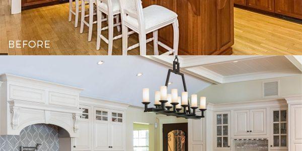 warm toned wood kitchen remodeled to white kitchen