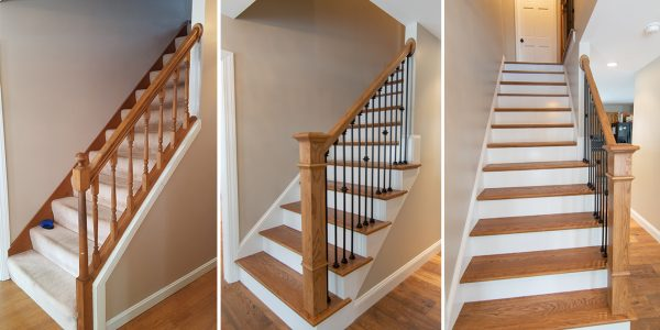 before and after staircase remodel