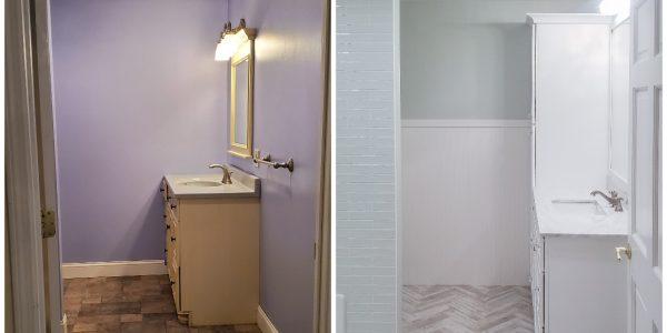 Lush Green Bathroom Makeover with Herringbone Tile Floor