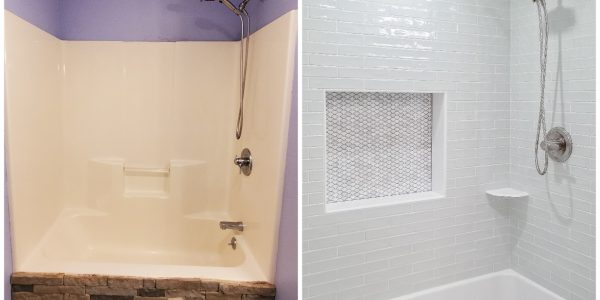 Peaceful Green Tiled Shower by Lighthouse Contracting Group