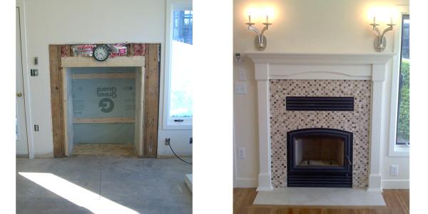 fireplace remodel custom tile mantle sconces gilford nh