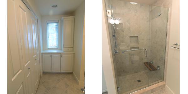 custom tile shower teak bench with white cabinets
