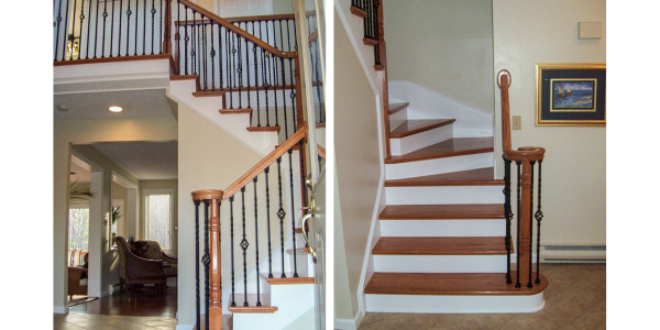 custom entry staircase iron balusters with oak treads