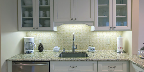small tiled kitchen backsplash white cabinets remodel gilford nh