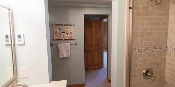 neutral lake house bathroom remodel