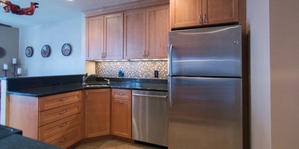 samoset condominiums gilford nh kitchen remodel tile backsplash, granite counter, cabinets