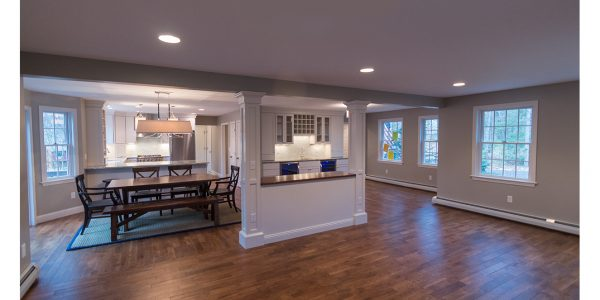 before and after first floor renovations open concept