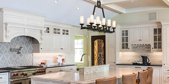 10' ceiling white kitchen with coffered ceiling
