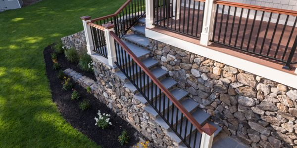 powder coated aluminum railing with mahogany rails custom deck lakes region nh