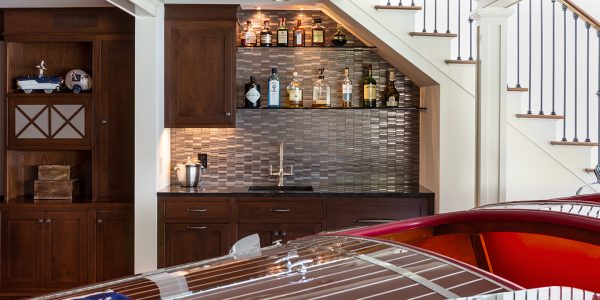 custom home bar with tile back splash by lighthouse contracting group