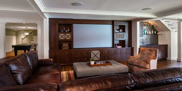 custom basement entertainment center and bar