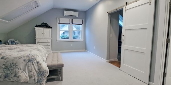Grey and White Master Suite Over Garage