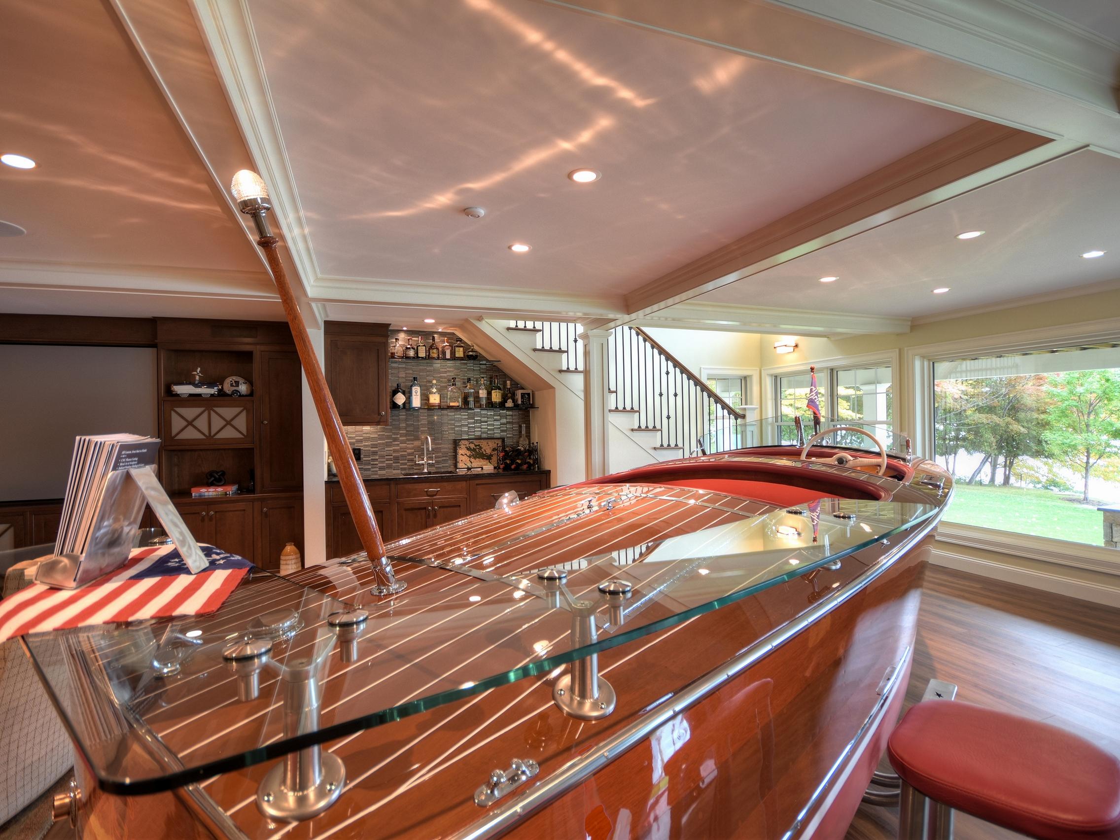 custom boat bar with stools