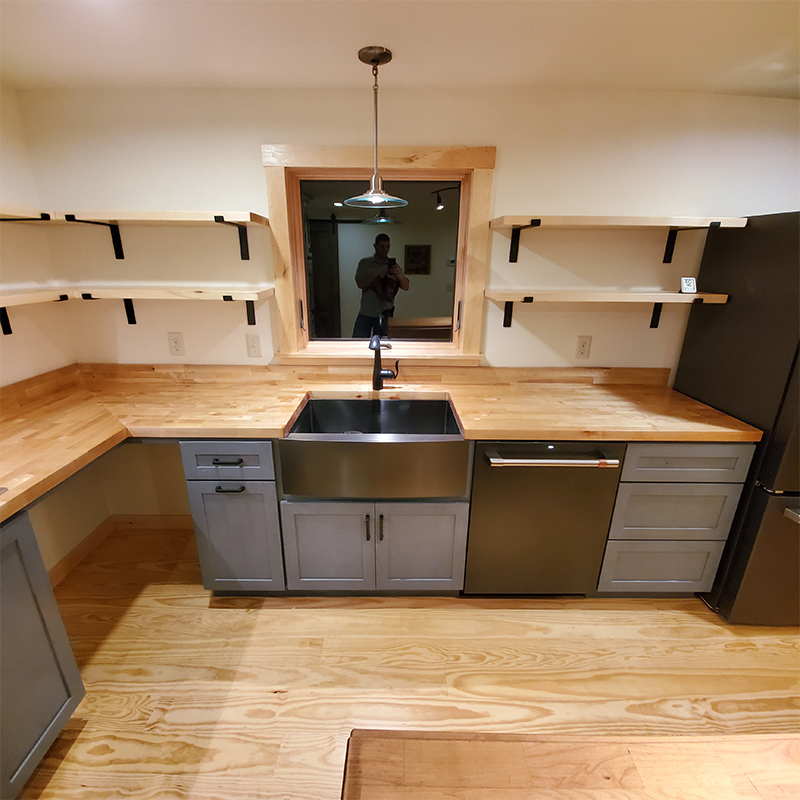 butcher block counters with stainless steel farmers sink