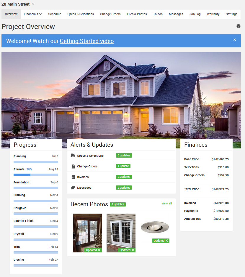 project dashboard coconstruct lighthouse contracting group