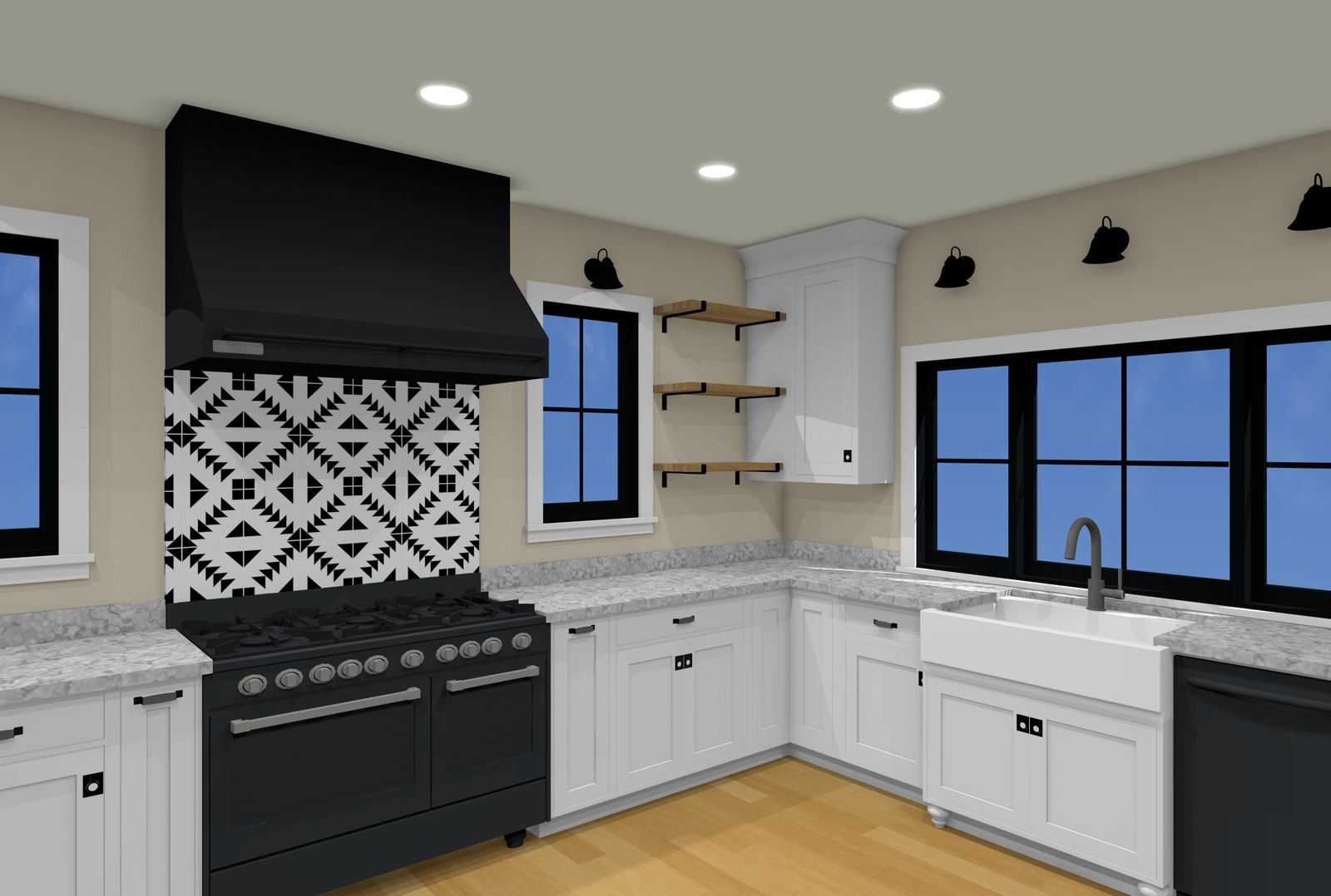 3D Rendering of Black and White Kitchen