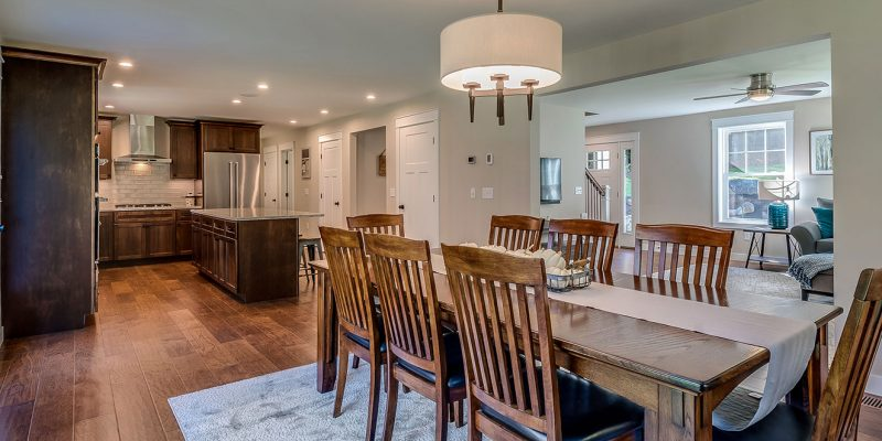 colonial style home open concept kitchen and dining