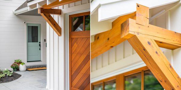 farmhouse garage overhang wood garage door