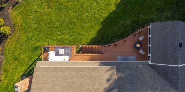 lake house Azek TimberTech PVC deck radius railing nh