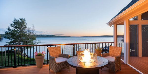 lake house with deck conversation area with fire pit