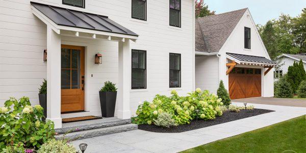 modern farmhouse nickel gap siding black windows