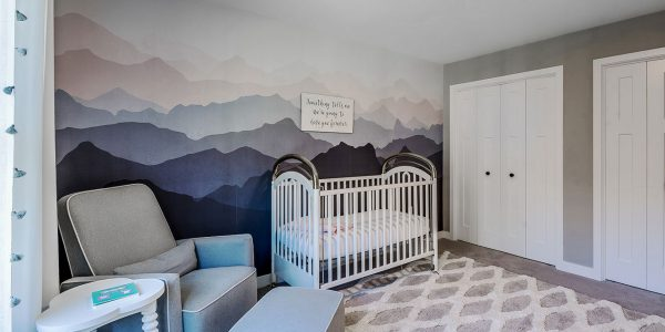 mountain mural wall grey pink nursery