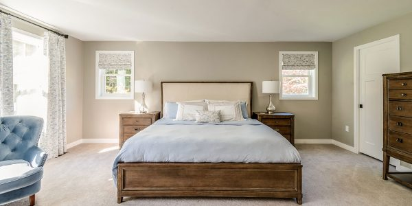 neutral master bedroom custom window treatments