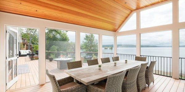 new england screen porch with cathedral ceiling