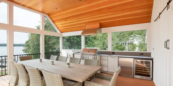 screened outdoor kitchen lake house new hampshire
