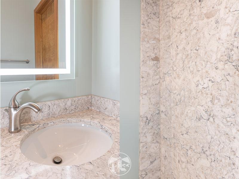 aria quartz countertop condo bathroom remodel