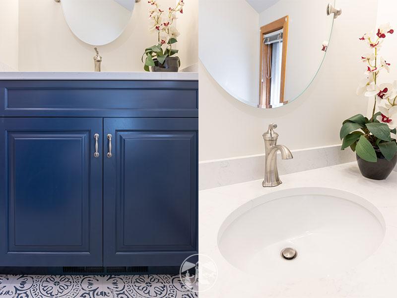 blue vanity white quartz countertop