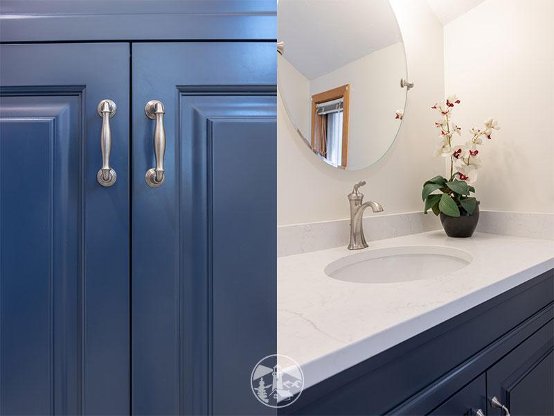 blue vanity white countertops half bath