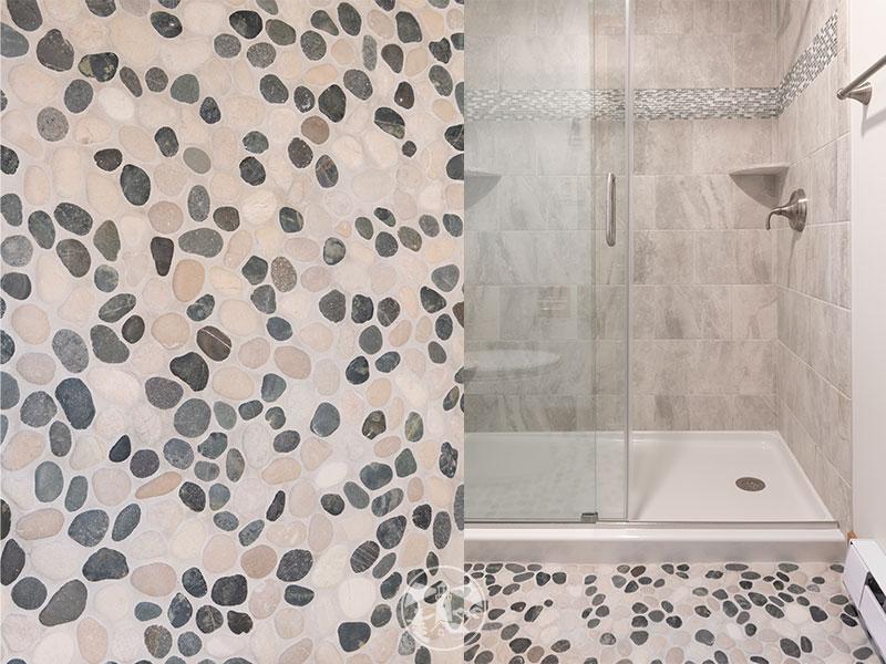 pebble stone tile floor condo bathroom remodel
