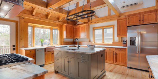 custom kitchen island rustic post and beam house