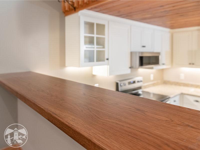 hickory slab bar top kitchen remodel gilford nh