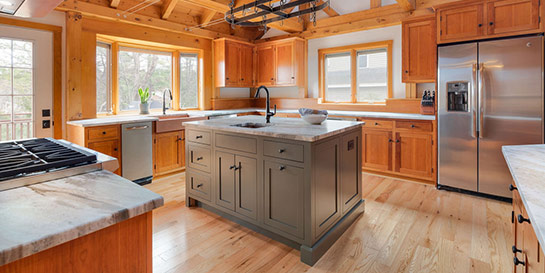kitchen remodel rustic post and beam