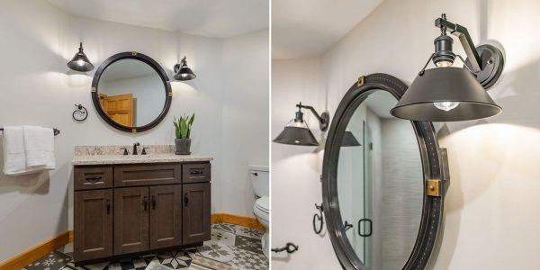patterned tile floor bathroom remodel