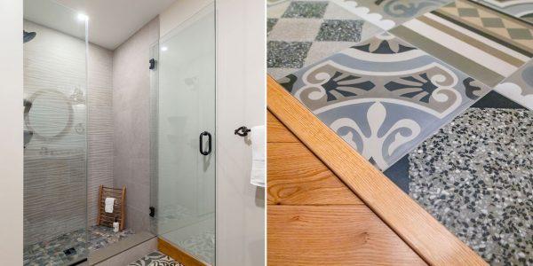 post and beam bathroom renovation patterned floor